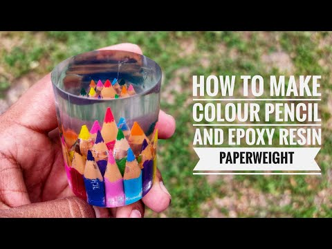 Colour Pencil And Epoxy Resin Paperweight | Epoxy Resin | Pencil Art Pencil Craft Ideas