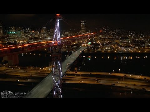 Portland, Oregon - Aerial Drone and Motion Time Lapse - Ultra HD 4K Royalty Free Stock Footage