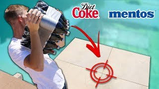 coke + Mentos BOMB Drop Test (10 Soda Bottles)