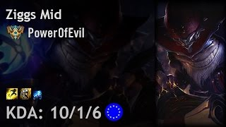 Ziggs Mid vs Diana - PowerOfEvil - EUW Challenger Patch 6.20