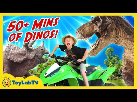 GIANT DINOSAURS CHASE & ATTACK! 50+ Minutes of Dinos, T-Rex & Surprise Eggs Toys in Kids Compilation