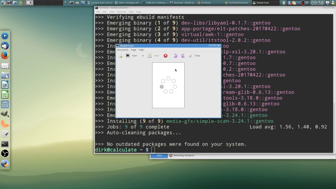 Calculate Linux Gentoo install HP Printer Scanner and Fix for Simple Scan 3  22 not starting