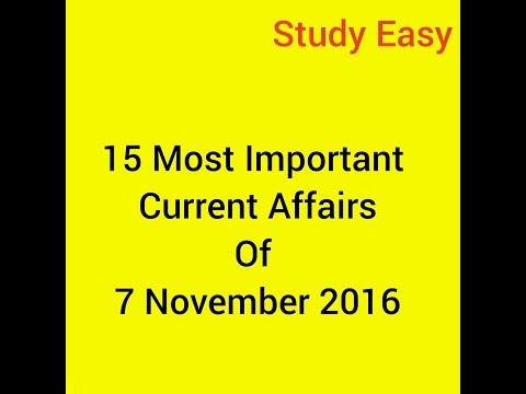Current affair 7 november 2016 most imortant for bank ssc upsa psc