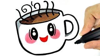HOW TO DRAW A CUTE CUP OF COFFEE EASY STEP BY STEP - COMO DESENHAR UM COPO DE CAFÉ KAWAII