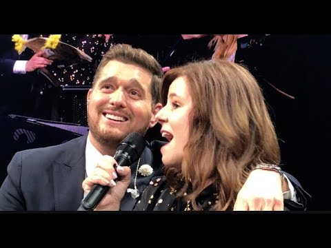 Michael Buble singing Disney duet with fan and 6th grade teacher Mrs Diana Fairbanks, Oakland.