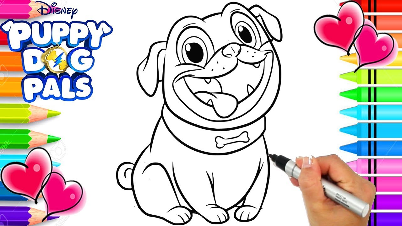 Puppy Dog Pals Rolly Coloring Page | Puppy Dog Pals Coloring Book ...