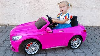 Little Girl Elis Ride On Pink Mercedes Benz AMG 12V Power Wheel with Baby Doll and Brother Thomas