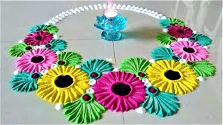 Gudi Padwa Rangoli Designs# Ugadi Rangoli# Flower Rangoli by Shital Mahajan.