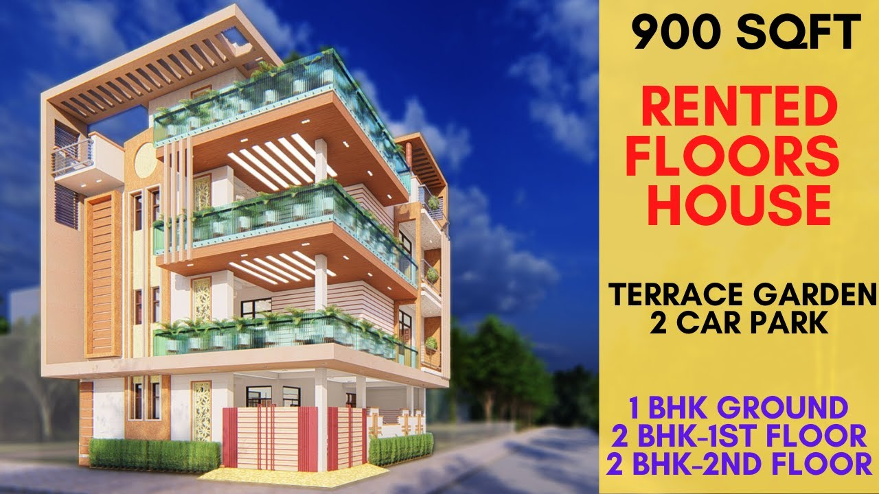 900 sqft, Small Modern House Design with Large Sit-out Balcony, Rented Floors   Terrace Garden