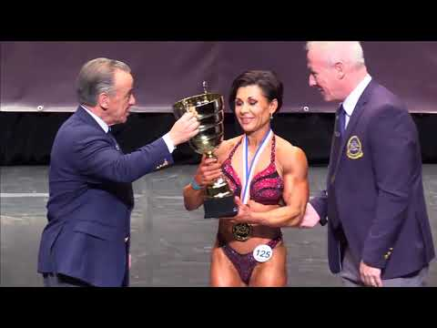 Women's Physique Overall at the IFBB World Fitness Championships 2017 (Biarritz), victory ceremony