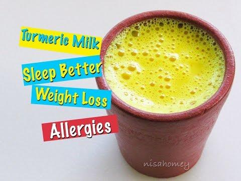 How To Make Turmeric Milk - Golden Milk Recipe - Haldi Doodh For Quick Weight Loss & To Sleep Better