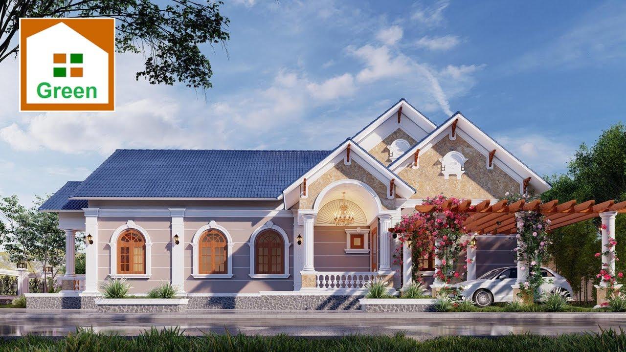 NHÀ ĐẸP GREEN | Mẫu Nhà Vườn Đẹp 9,5m x 19,5m có 3 Phòng Ngủ Kiến Trúc Tân Cổ Tại Quảng Bình