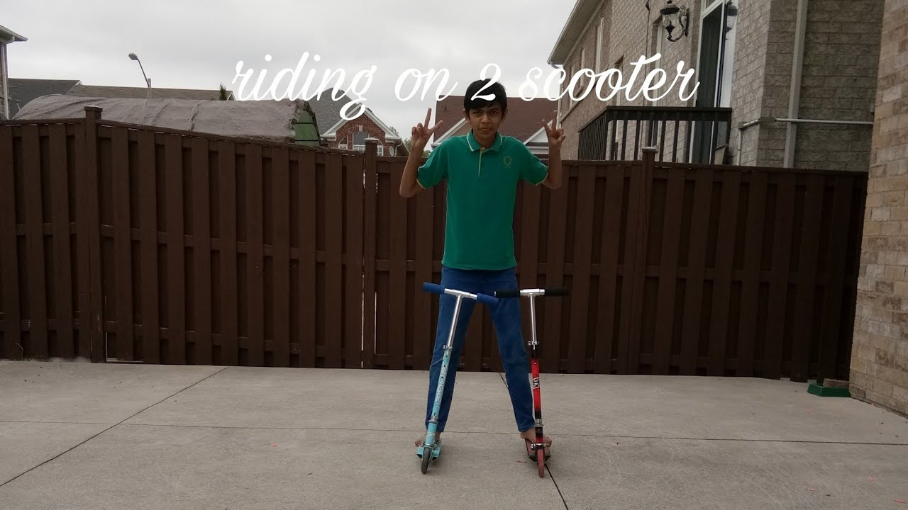 Riding on 2 scooter by Zach king 2