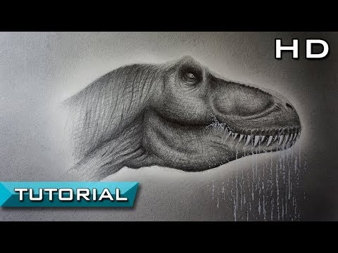 How to Draw a Tyrannosaurus Rex Head with Pencil Step by Step - T Rex Fan Art