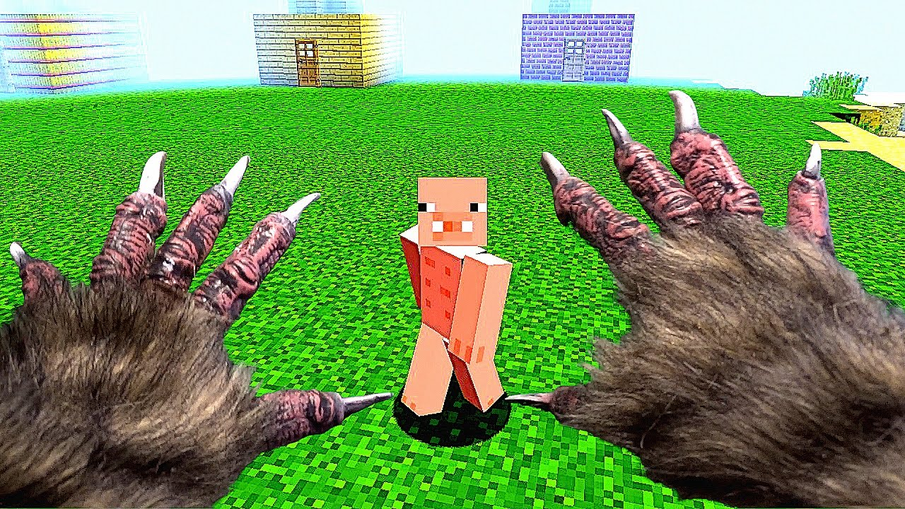 REALISTIC MINECRAFT ~ 1 WOLF vs 3 PIGS - YouTube