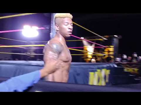 NXT Live , Tampa . Donovan  ( Chris Dyjak ) debutes the hard way , Lio Rush vs Hideo Itami battle !