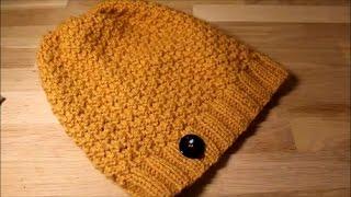 Простая шапка бини на прямых спицах.