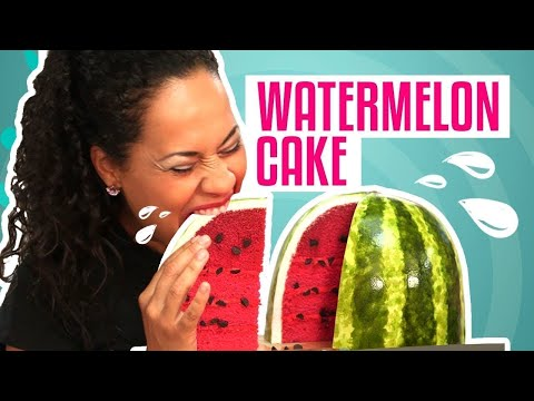 Thumbnail: How To Make A WATERMELON out of CAKE! PINK VELVET cake with BUTTERCREAM and FONDANT!