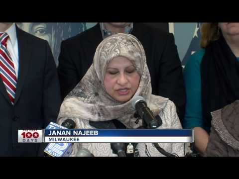 Local Islamic and Jewish community protest immigration ban