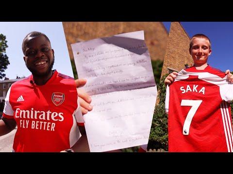 Charlie's heartfelt letter to Saka ♥️ | Frimmy's home shirt giveaway