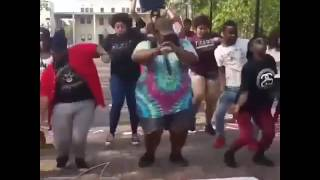 Fat guy and the dance squad dance to Kirby theme song