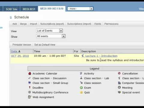 Creating a Sakai Site 10 - Adding Calendar Events