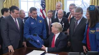 FULL: President Donald Trump Signs the NASA spending authorization act 3/21/2017
