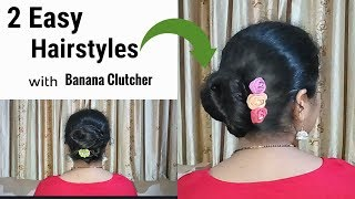 2 easy cute hairstyles with using banana clutcher | Hair Style Girl | Hairstyles for girls