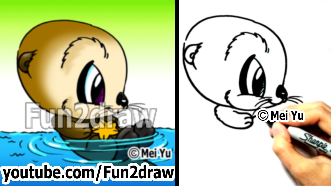 f26d0ff6dc3fc Cartoon Drawing Tutorials - How to Draw an Otter - Draw Animals - Easy  Drawings - Fun2draw