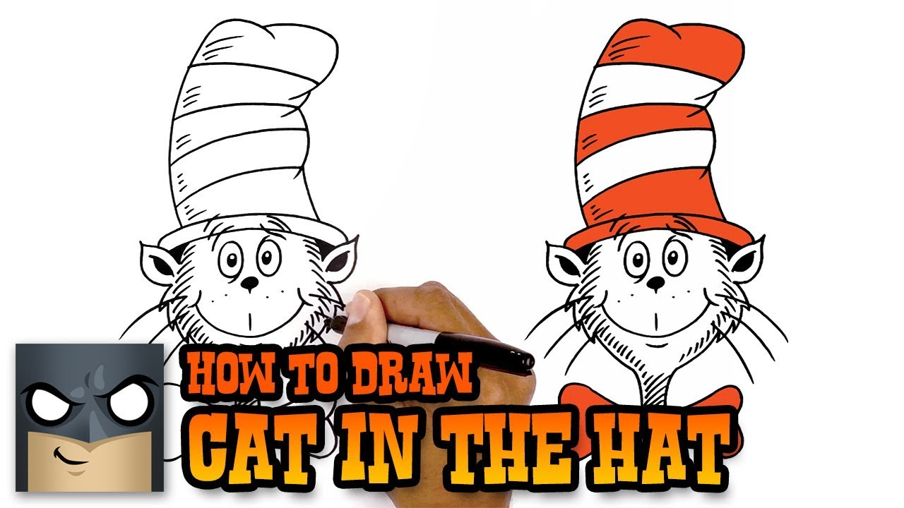 How To Draw Cat In The Hat Art Tutorial Youtube