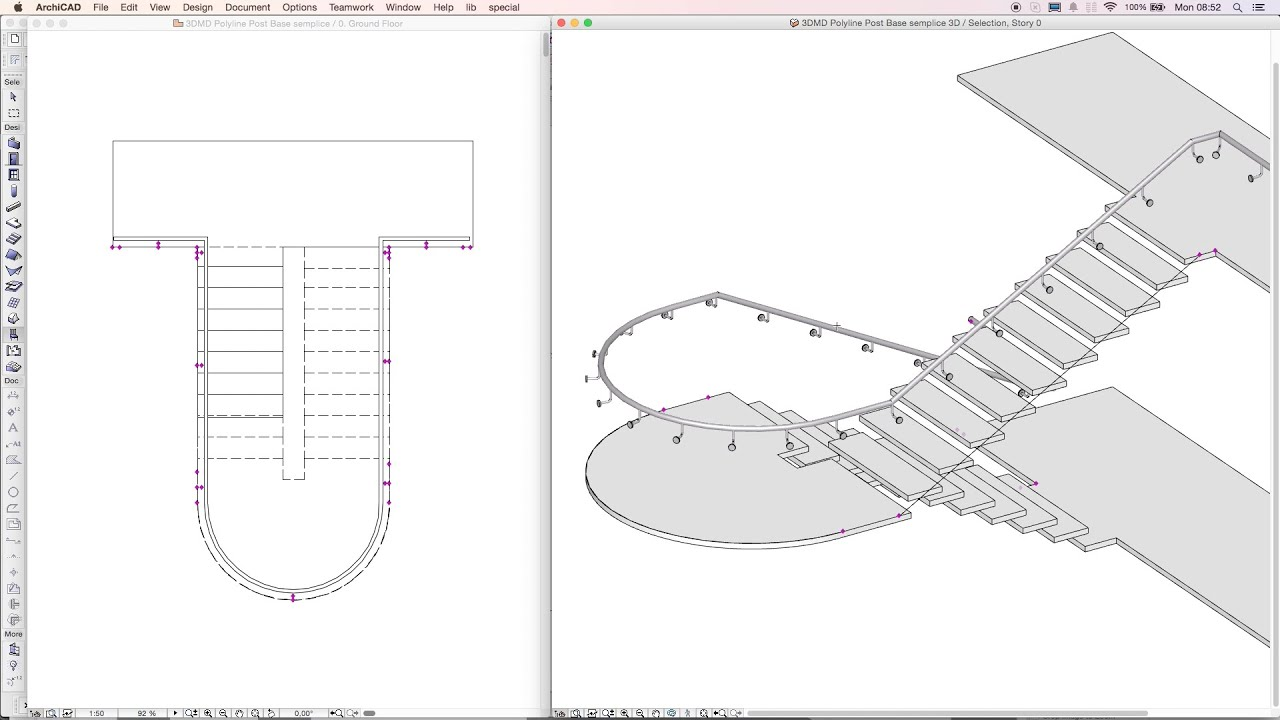 3DMD Handrail Archicad Object   Drawing On A Stair