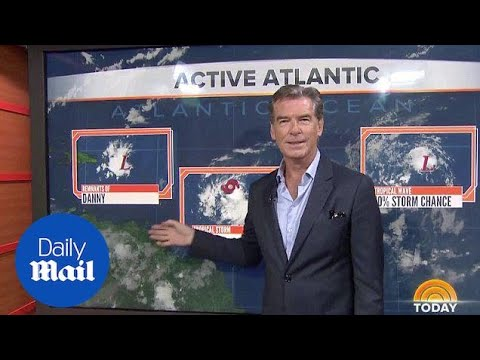 Pierce Brosnan attempts the weather forecast on Today - Daily Mail