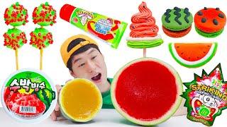 Mukbang 수박디저트 먹방 watermelon dessert 수박음식 Tanghulu Jelly 수박젤리 수박탕후루  color food 빙수 icecream  JJAEMI째미