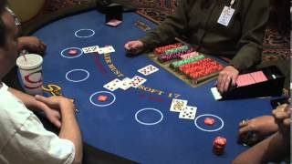 Blackjack Card Game in Las Vegas Casino Video of Dealer Dealing Cards and Players with Winning Hands