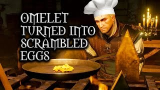 The Witcher 3: Wild Hunt - Geralt's omelet turned into scrambled eggs (Deleted Kaer Morhen scene)