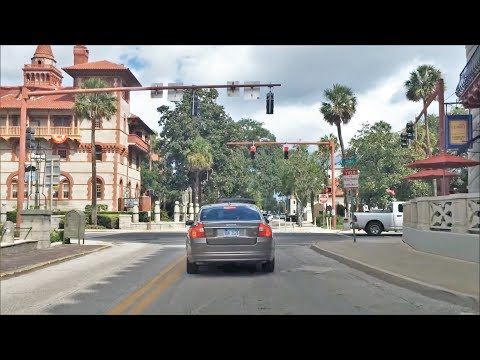 Driving Downtown - St Augustine Florida USA