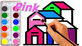 How To Draw House?   Learn Colors With House Glitter Coloring