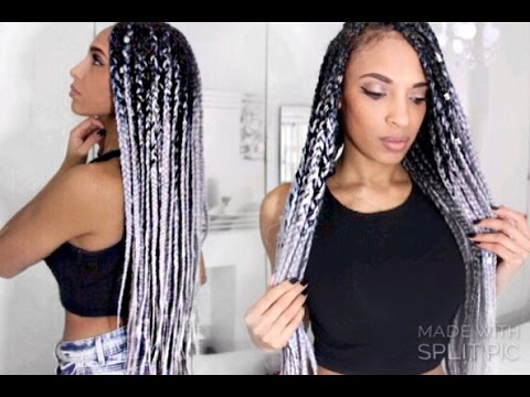 Diy Chunky Ombre Grey Boxbraids With Catface Hair Youtube