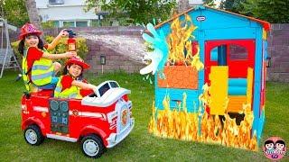 หนูยิ้มหนูแย้ม   รถดับเพลิง Fire Truck Engine ride on car