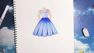 How to draw a dress - Vẽ Váy đơn giản - An Pi TV Coloring