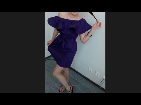 Как сшить платье с воланом вверху
