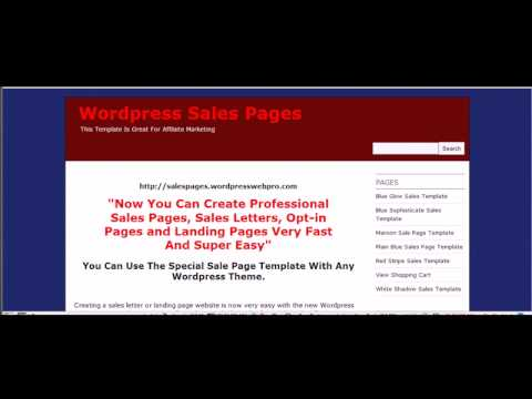 Wordpress Sales Page Template - How To Create A Sales Letter Using a