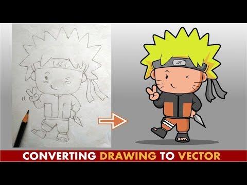 Converting Hand Drawing ( Chibi Naruto ) to Digital Vector Image