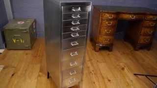Vintage Retro Industrial 10 Drawer Stripped Polished Metal Filing Cabinet