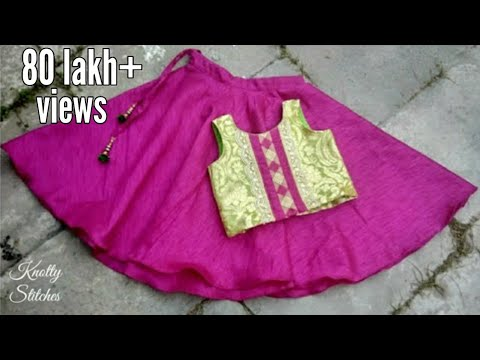 kids designer lehenge choli cutting and stitching in hindi /easy step by step tutorial