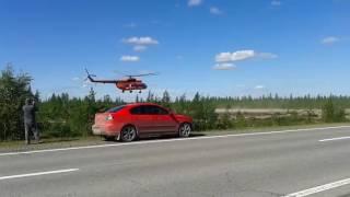Экстримальный взлёт вертолёта Ми-8.