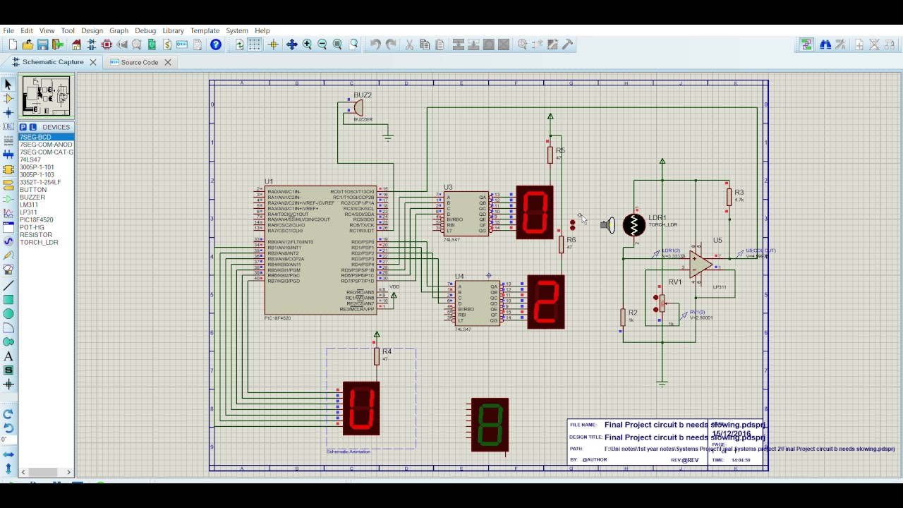 Final Project circuit g Proteus 8 Lite Schematic Capture 20 12 2016 on logic synthesis, electronic design automation, digital electronics, schematic editor,