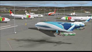 BOEING B 797 SUPER LINER PROJECT X 48 TAKE OFF FROM LISBOA INTL AIRPORT FS9 HD