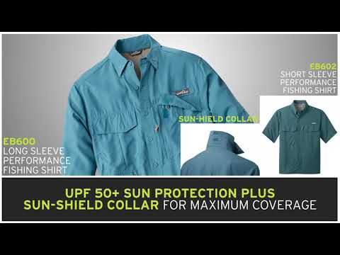 Custom Logo EB 600 602  Eddie Bauer® - Long Sleeve Performance Fishing Shirt