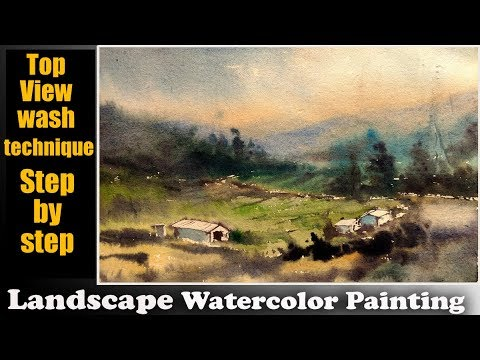 Top view Watercolor landscape   watercolor tips and tricks by Biki das